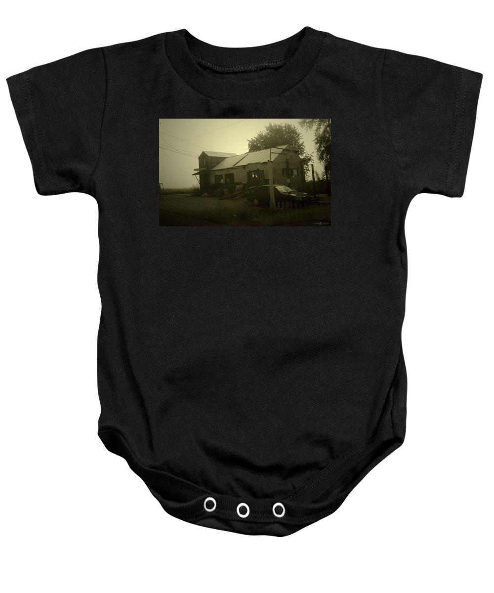 Milltown Baby Onesie featuring the photograph Milltown Merchantile by Tim Nyberg