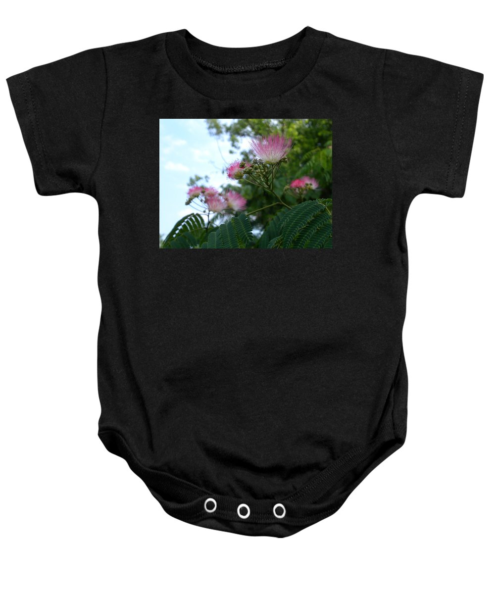 Mimosa Baby Onesie featuring the photograph Mimosa Sky by Anne Cameron Cutri