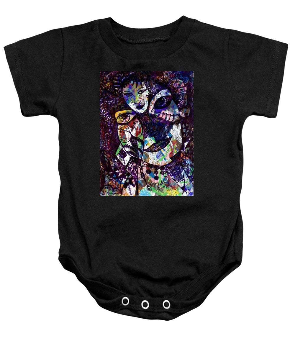 Female Baby Onesie featuring the painting Mind Reader by Natalie Holland