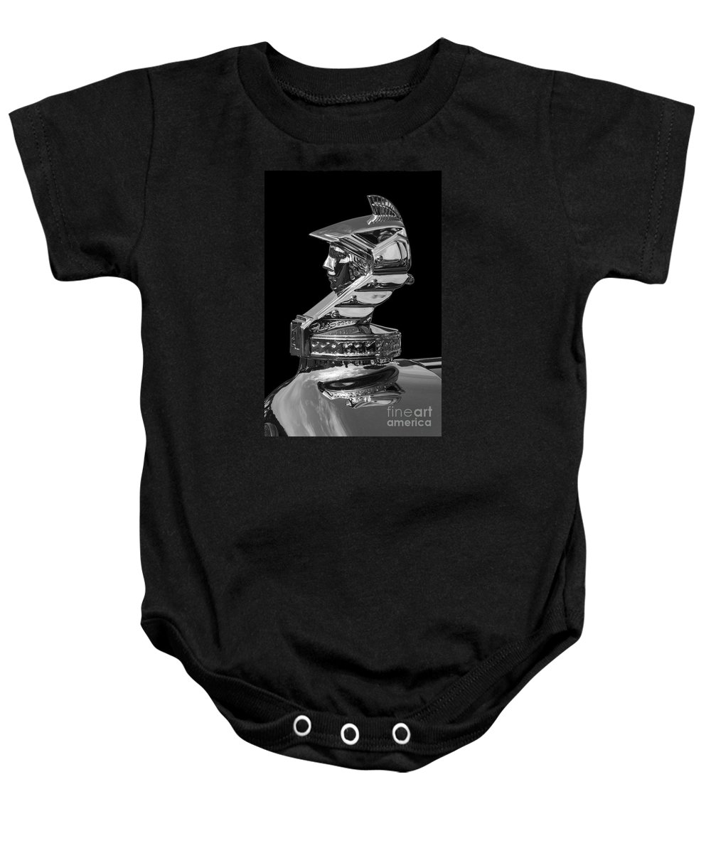 1931 Minerva Baby Onesie featuring the photograph Minerva Hood Ornament by Dennis Hedberg