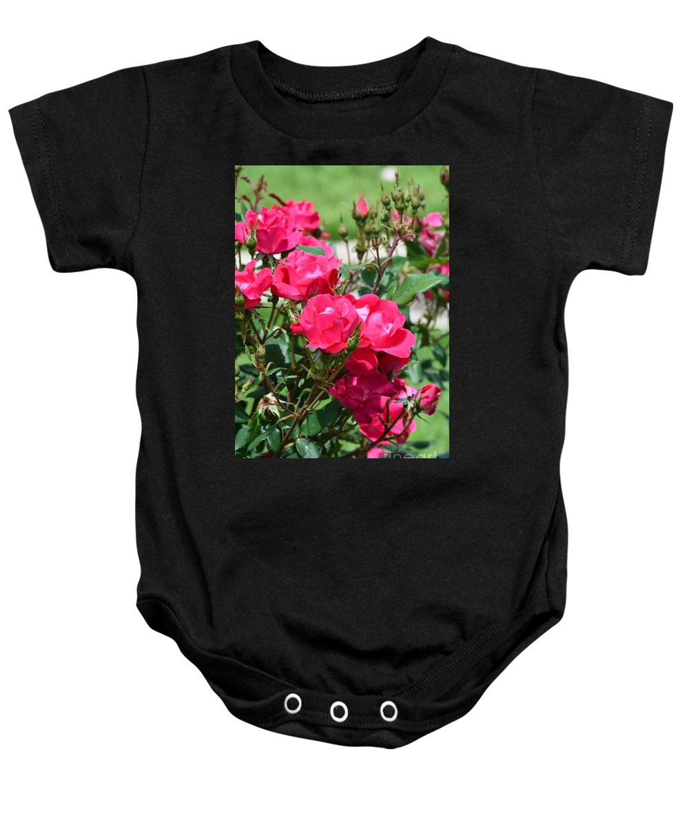 Miniature Roses Baby Onesie featuring the photograph Miniature Roses by Maria Urso