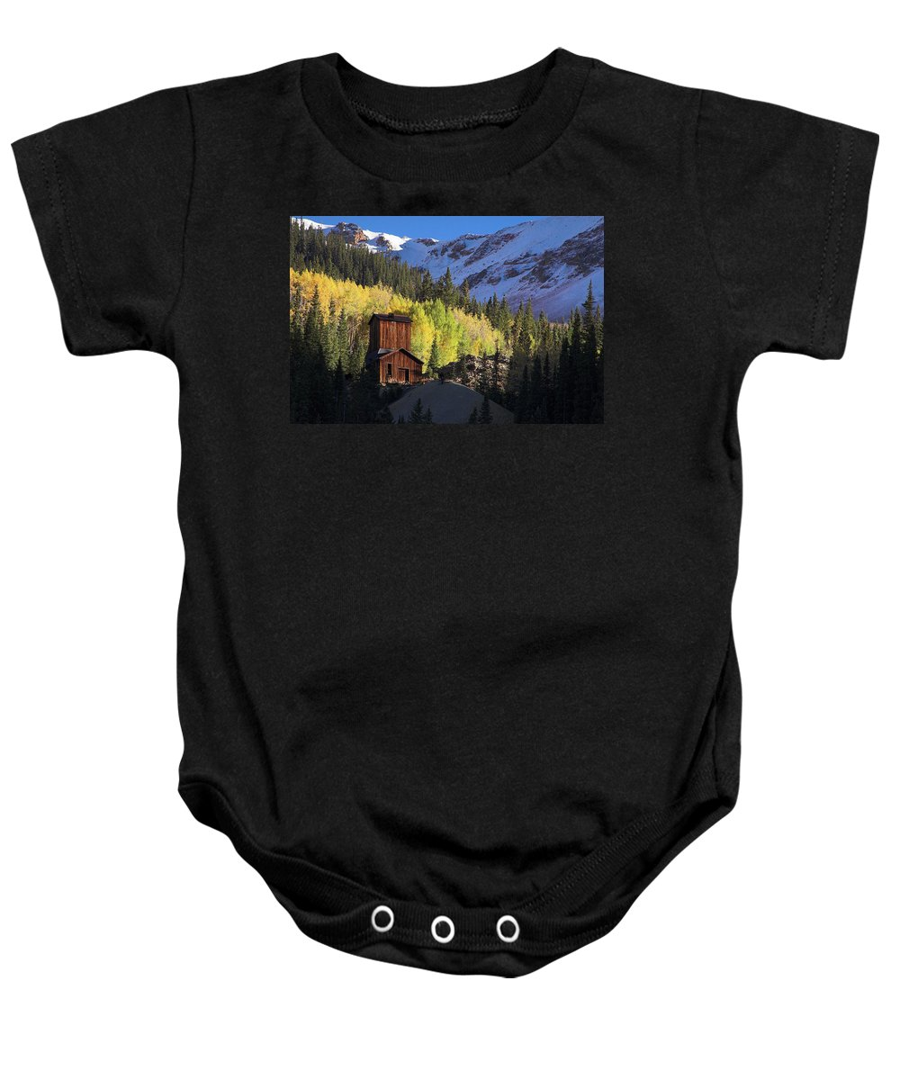 Colorado Baby Onesie featuring the photograph Mining Ruins by Steve Stuller