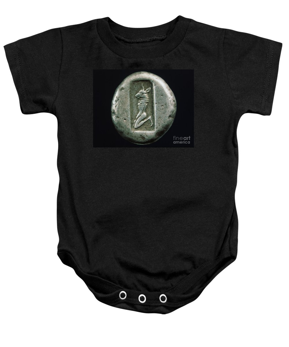 480 B.c. Baby Onesie featuring the photograph Minotaur On A Greek Coin by Granger