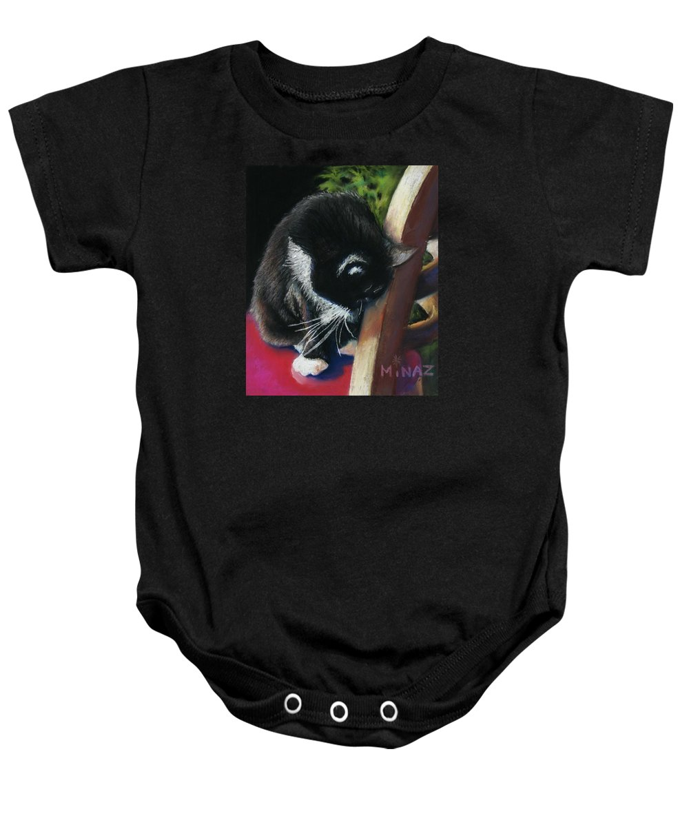 Cat Baby Onesie featuring the painting Kitty Chair by Minaz Jantz