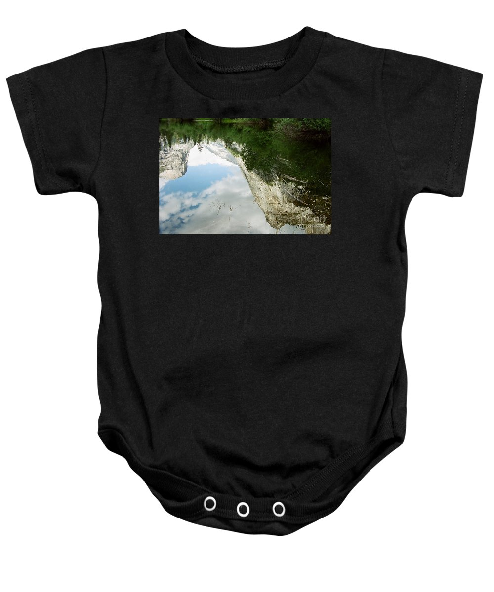 Mirror Lake Baby Onesie featuring the photograph Mirrored by Kathy McClure