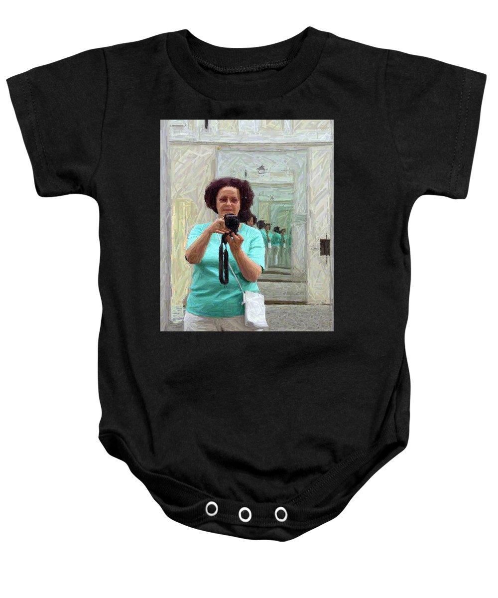 Portrait Baby Onesie featuring the photograph Mirrored Self-portrait by Valerie Ornstein