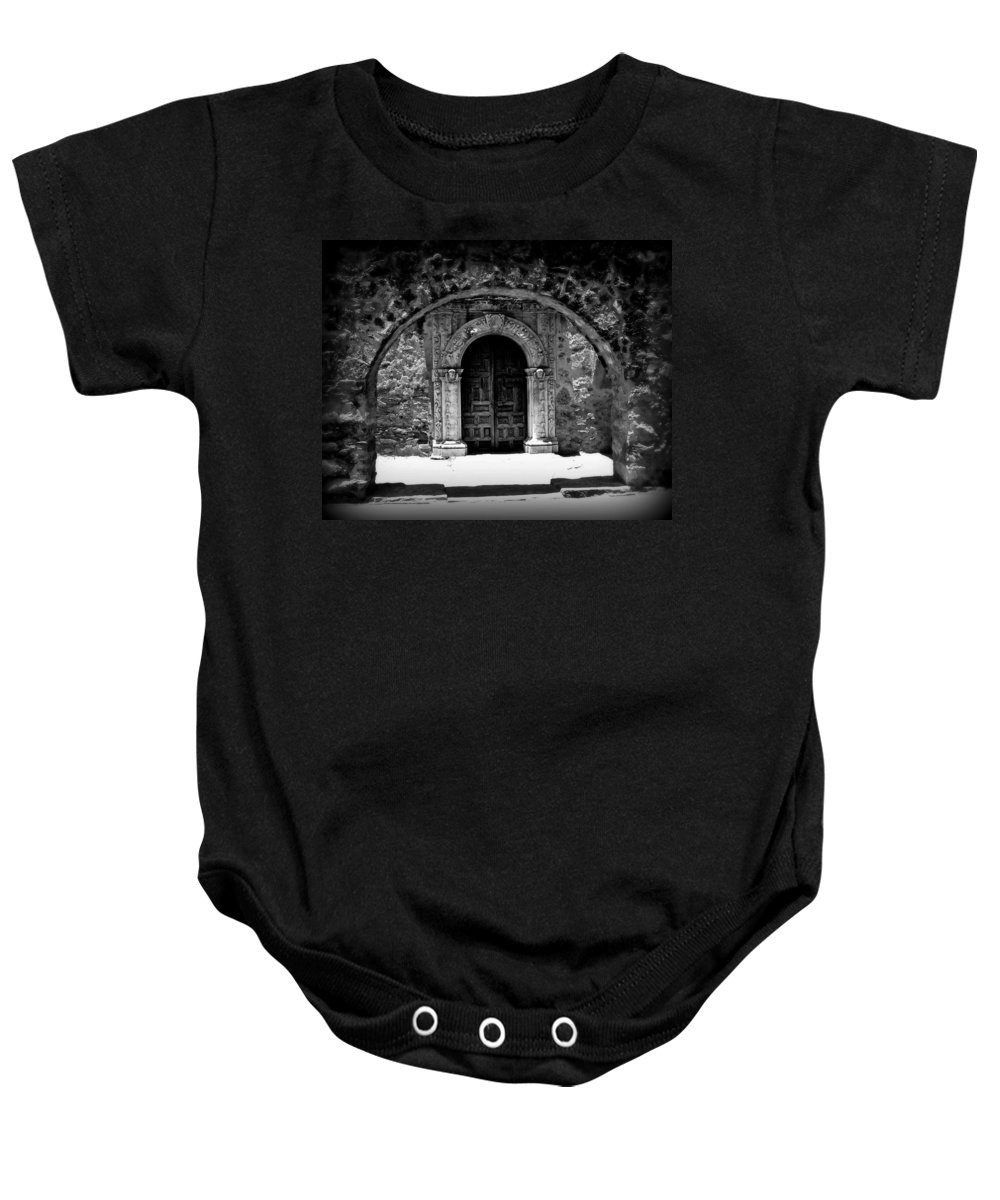 Door Baby Onesie featuring the photograph Mission Archway II by Perry Webster