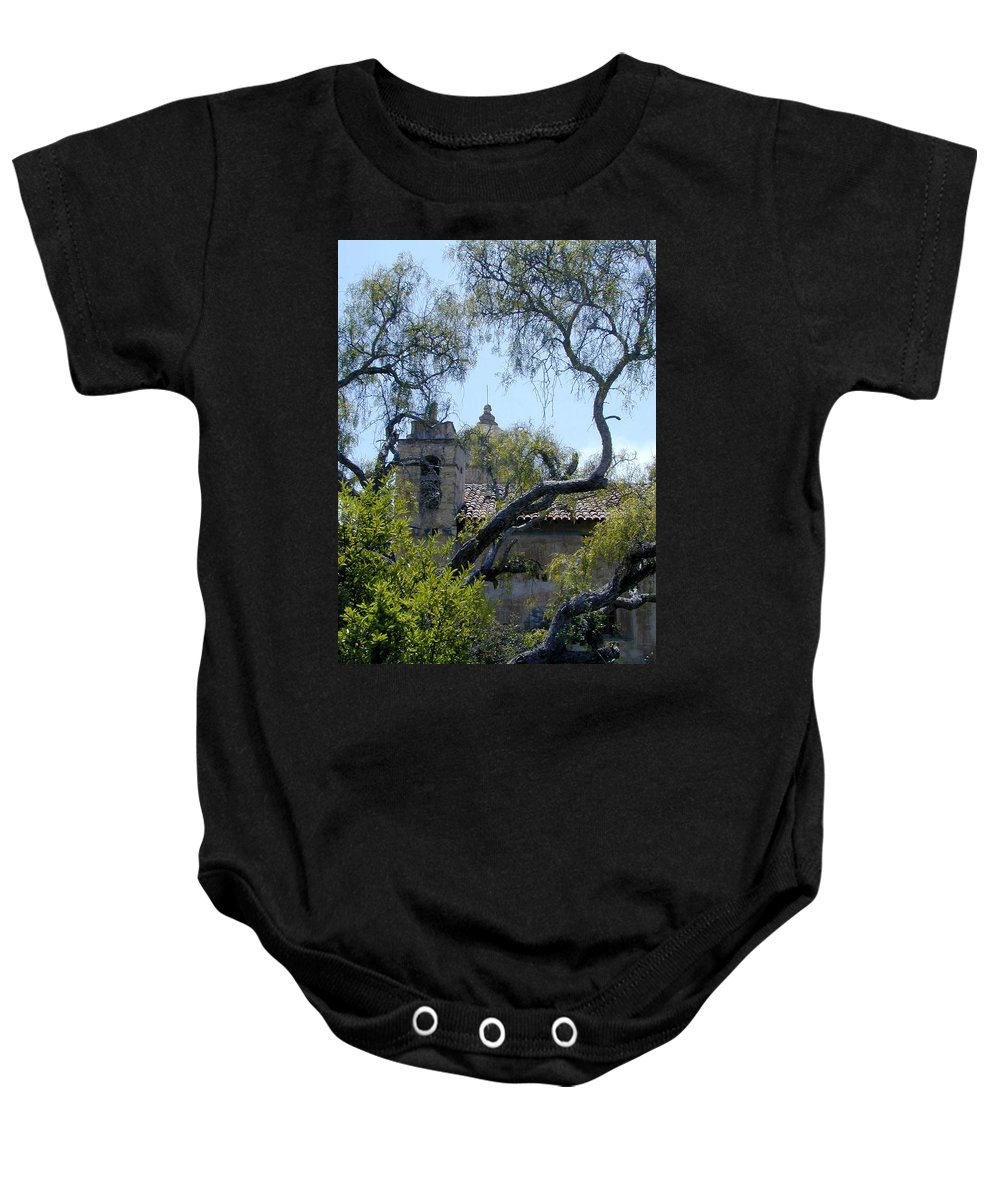 Mission Baby Onesie featuring the photograph Mission At Carmell by Douglas Barnett