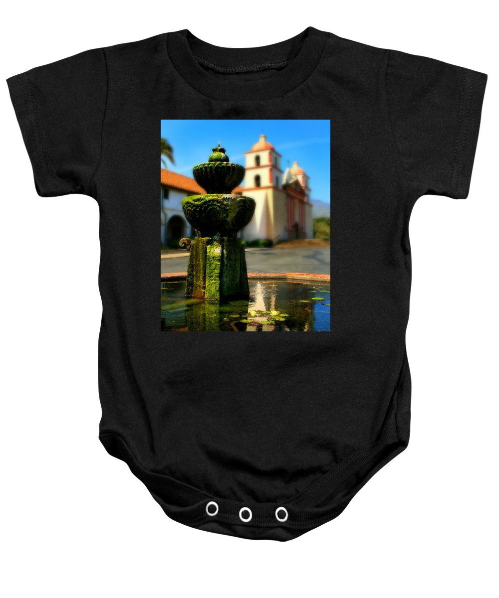 Fountain Baby Onesie featuring the photograph Mission Fountain by Perry Webster