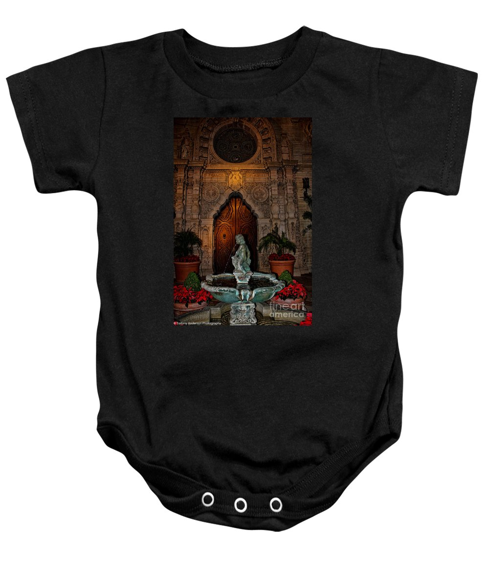 Mission Inn Baby Onesie featuring the photograph Mission Inn Chapel Fountain by Tommy Anderson