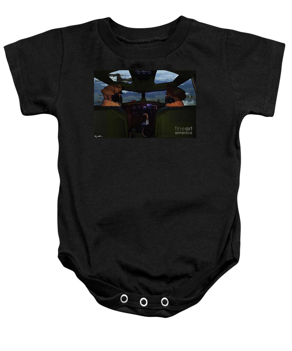 B-17 Baby Onesie featuring the digital art Mission Over Germany - Oil by Tommy Anderson