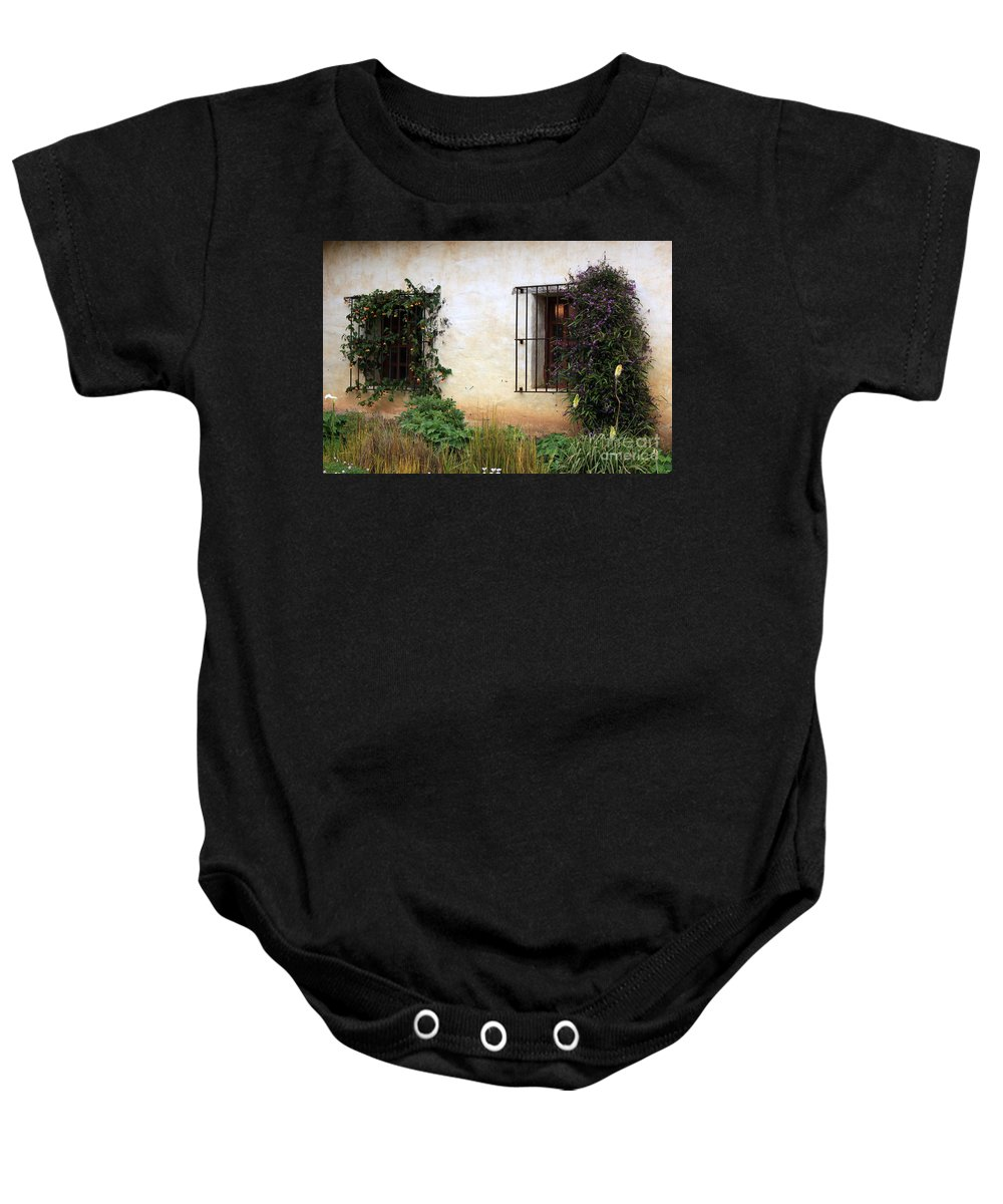 Vines Baby Onesie featuring the photograph Mission Windows by Carol Groenen