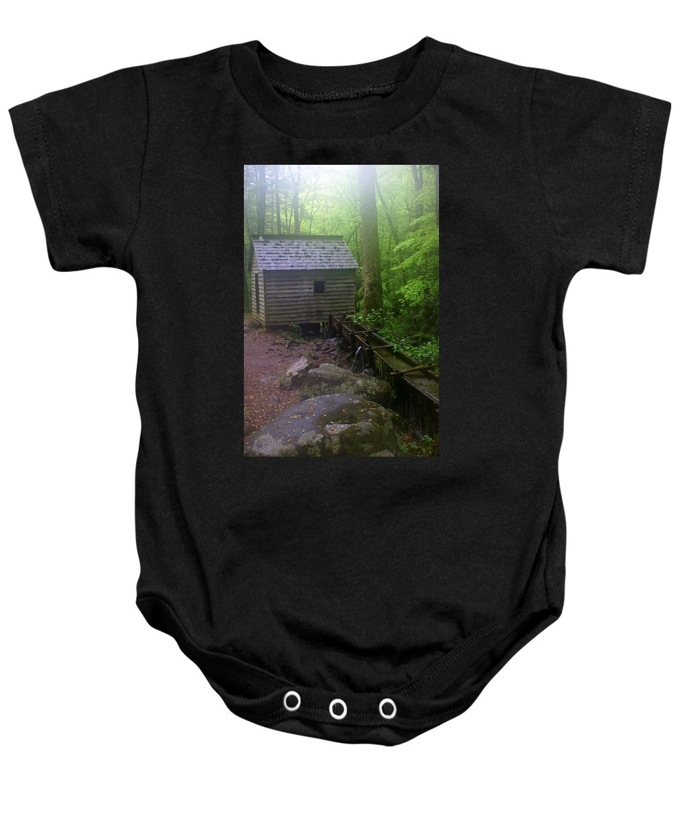 Smokey Mountain National Park Baby Onesie featuring the photograph Misty Mill by Marty Koch
