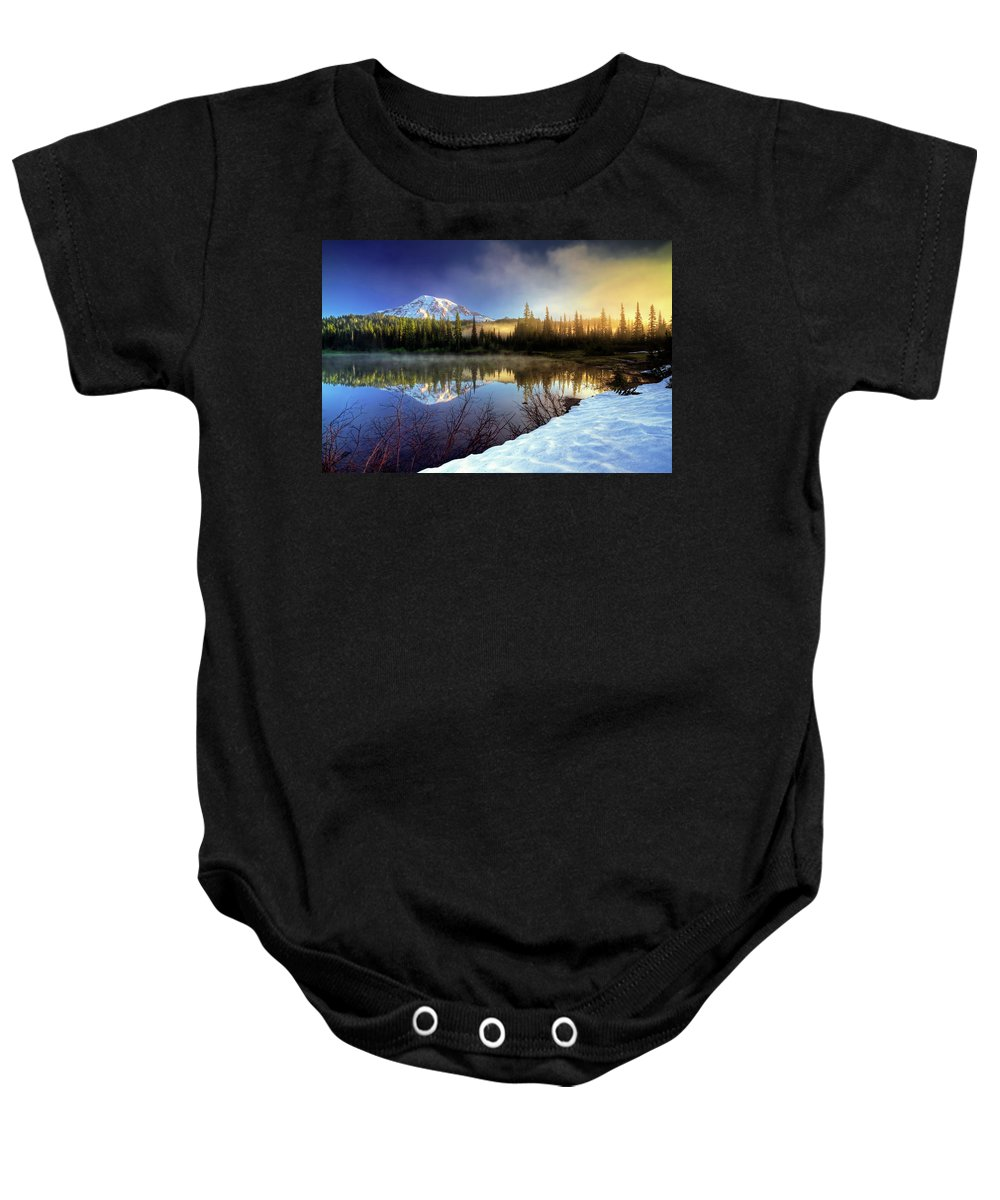 Mountain Baby Onesie featuring the photograph Misty Morning Lake by William Freebilly photography