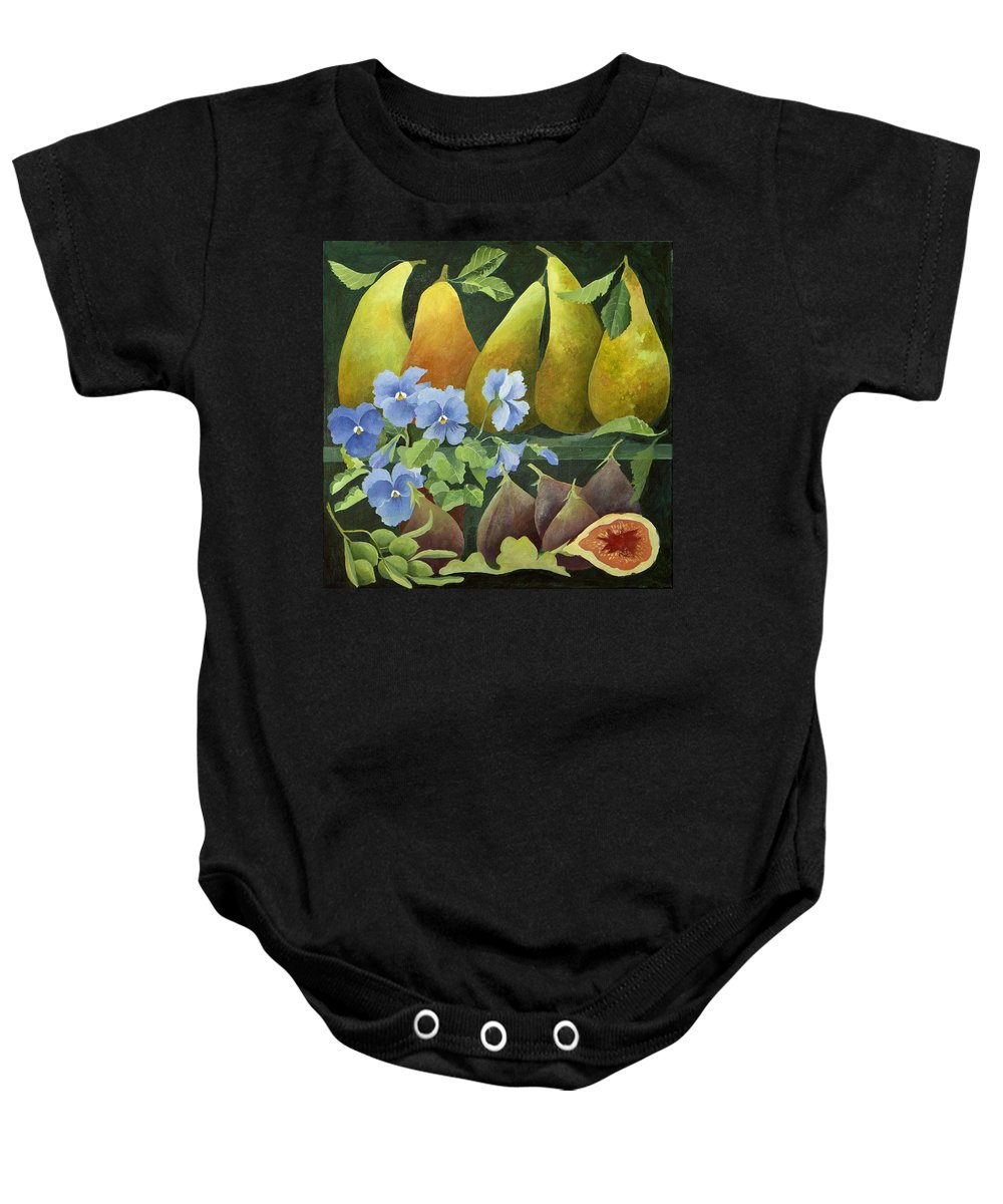 Pear Baby Onesie featuring the painting Mixed Fruit by Jennifer Abbot