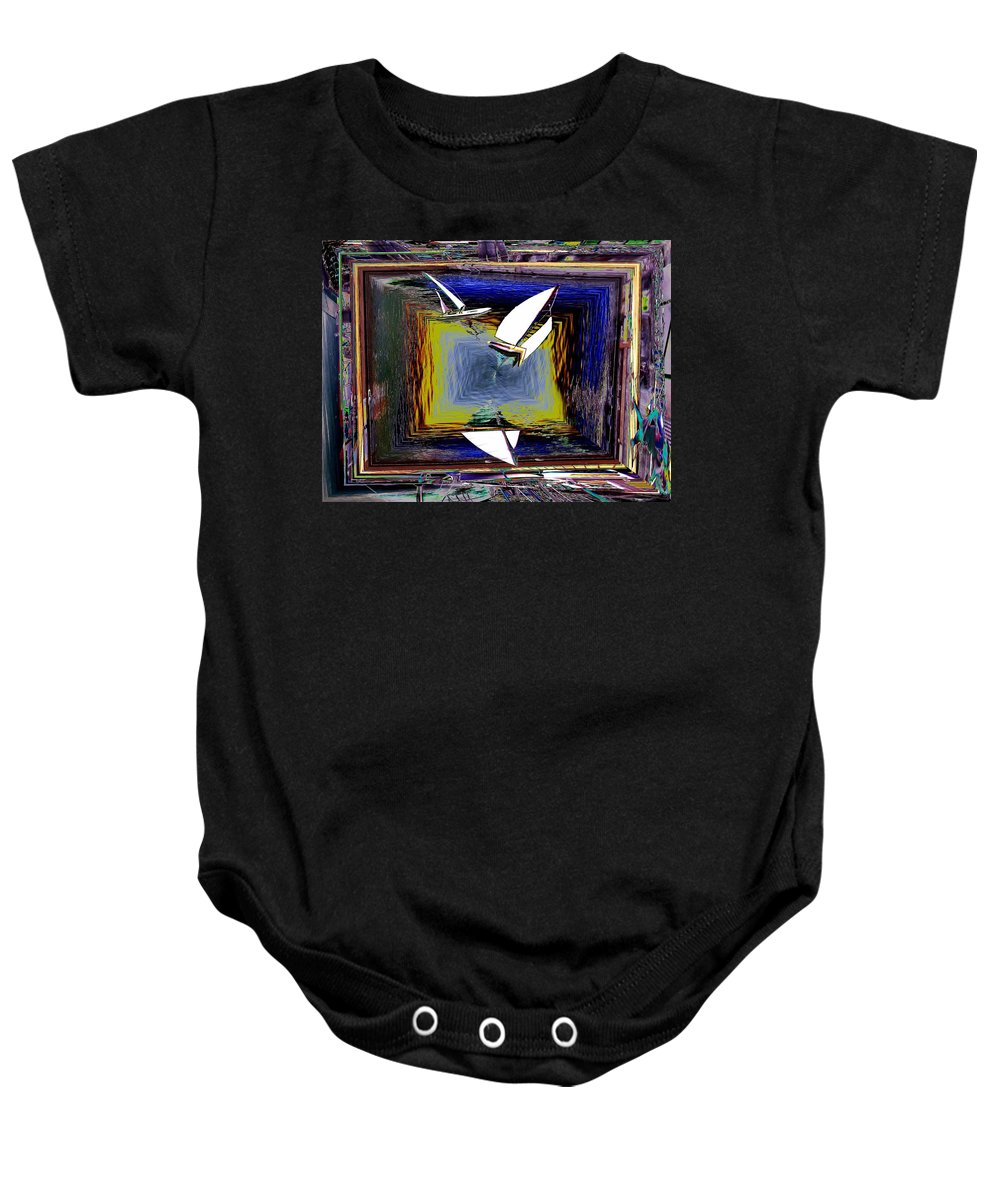 Sail Baby Onesie featuring the digital art Model Sailboats by Tim Allen