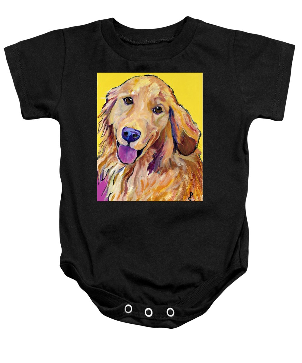 Acrylic Paintings Baby Onesie featuring the painting Molly by Pat Saunders-White