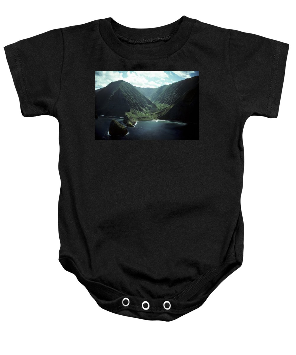 Molokai Baby Onesie featuring the photograph Molokai Valley by Steven Sparks