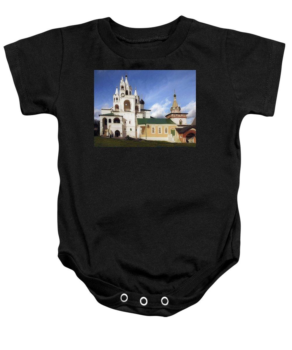 Landscape Baby Onesie featuring the painting Monastery In Zvenigorod, Russia by Alex Galkin
