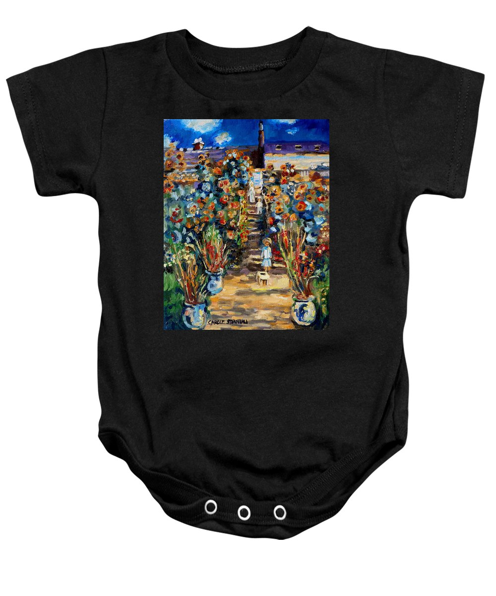 Monet Baby Onesie featuring the painting Monets Flower Garden by Carole Spandau