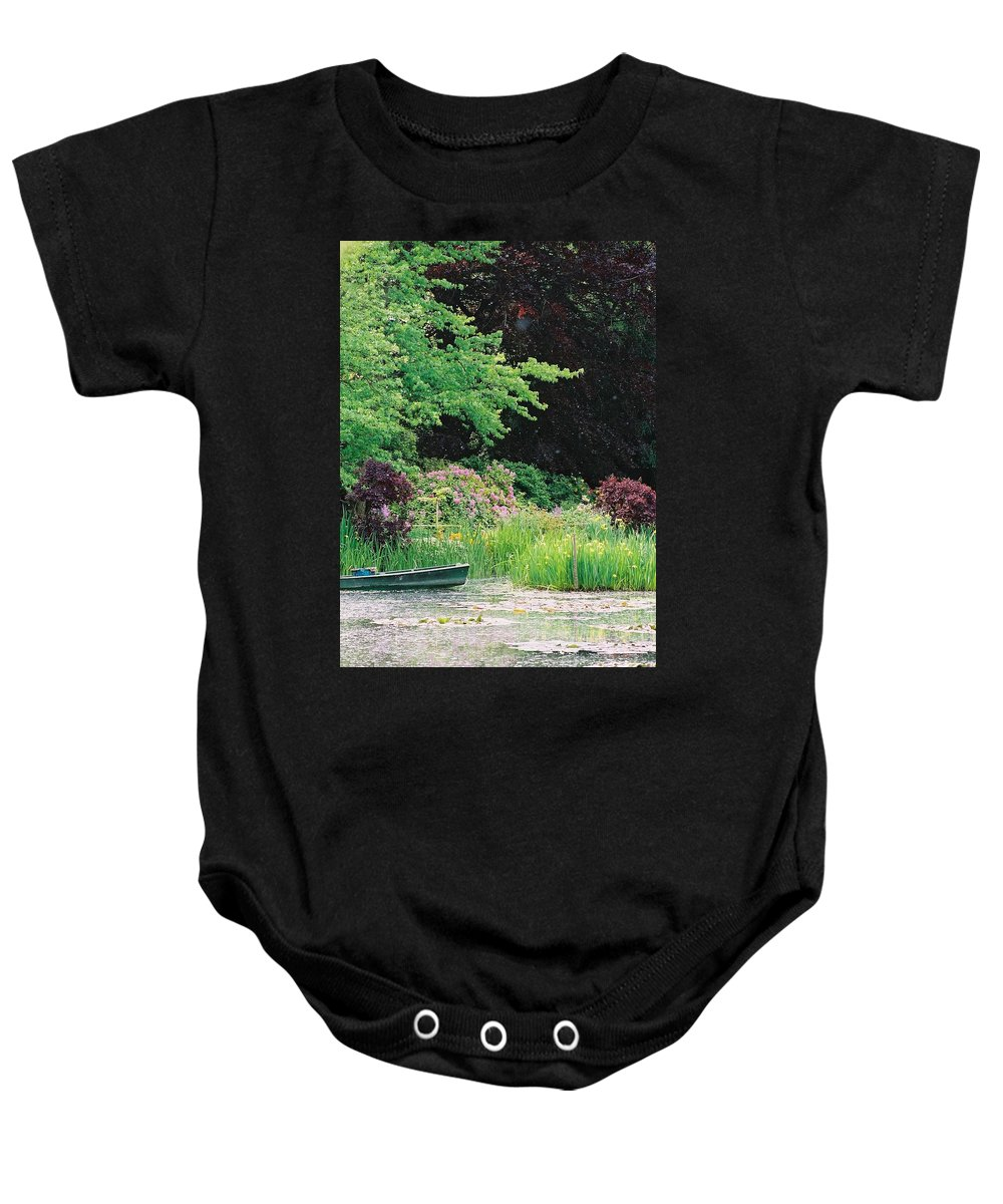 Monet Baby Onesie featuring the photograph Monet's Garden Pond And Boat by Nadine Rippelmeyer