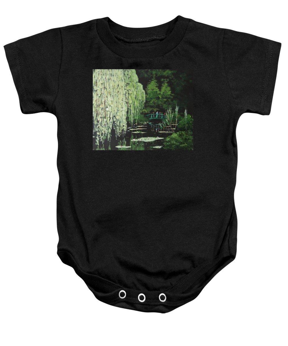Monet's Baby Onesie featuring the painting Monet's Garden by Tony Gunning