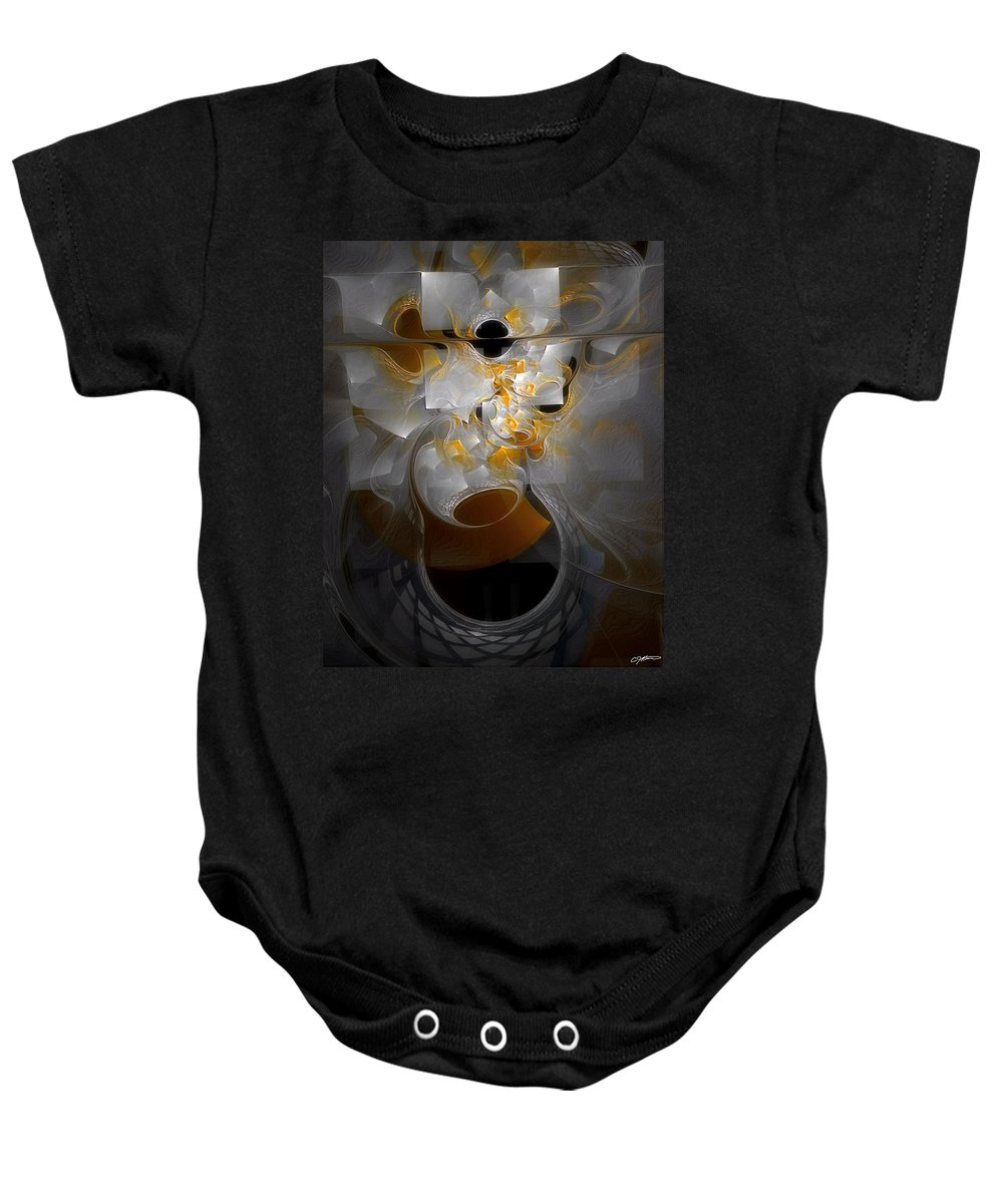 Abstract Baby Onesie featuring the digital art Monolith And Friends by Casey Kotas