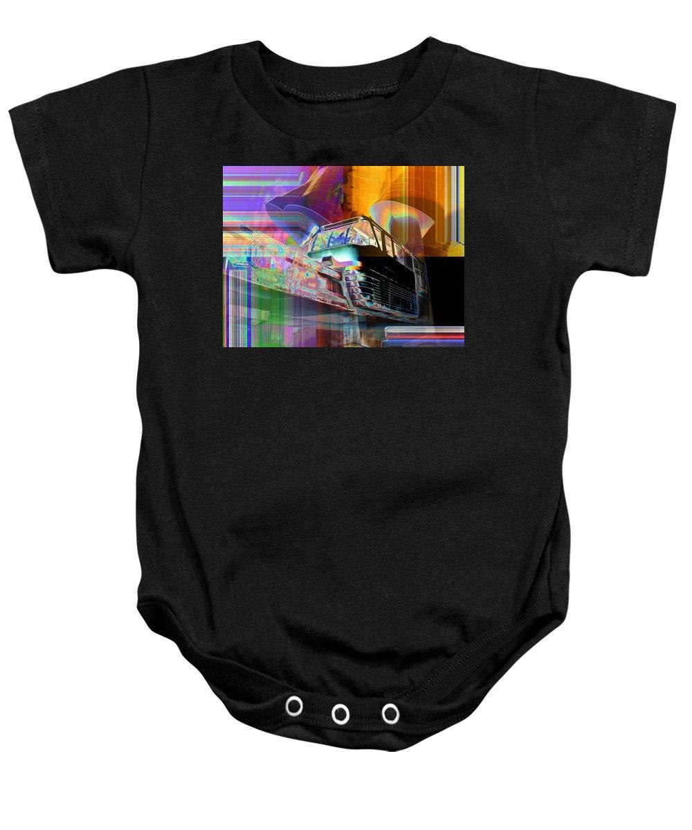 Seattle Baby Onesie featuring the digital art Monorail And Emp by Tim Allen