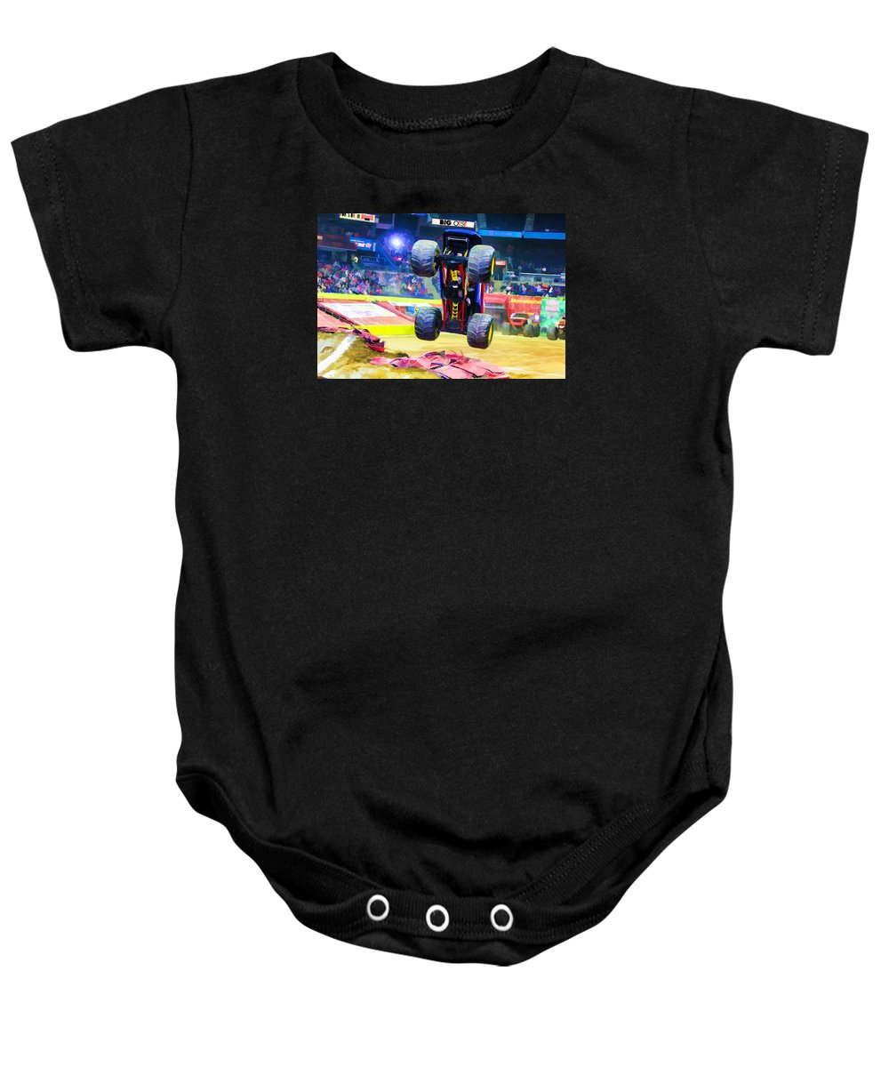 Monster Jam Baby Onesie featuring the painting Monster Jam 1 by Jeelan Clark