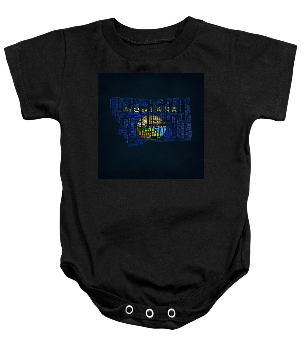 Montana Baby Onesie featuring the digital art Montana Typographic Map by Brian Reaves