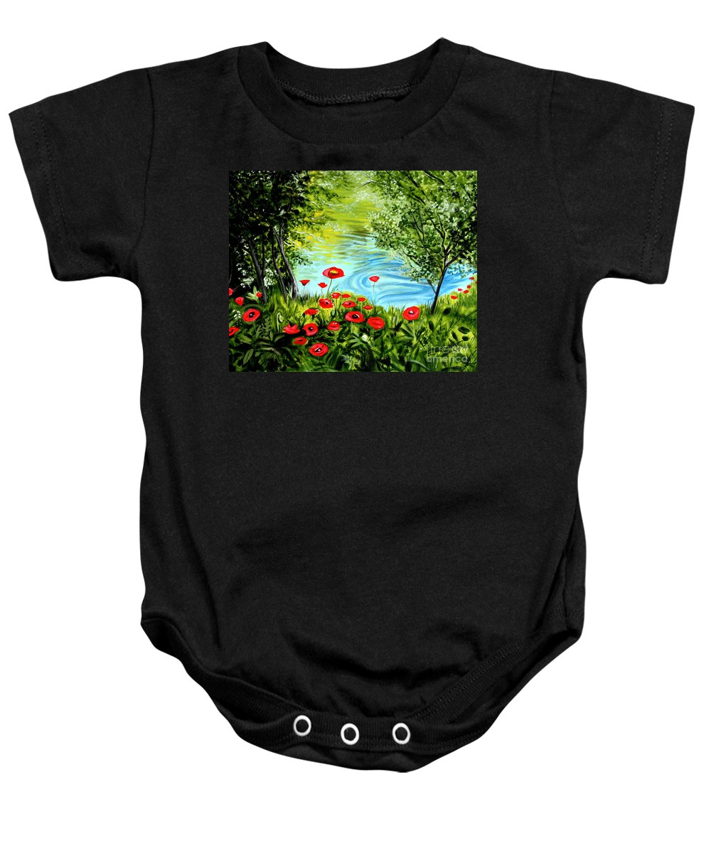 Landscape Baby Onesie featuring the painting Monte Rio Poppies by Elizabeth Robinette Tyndall