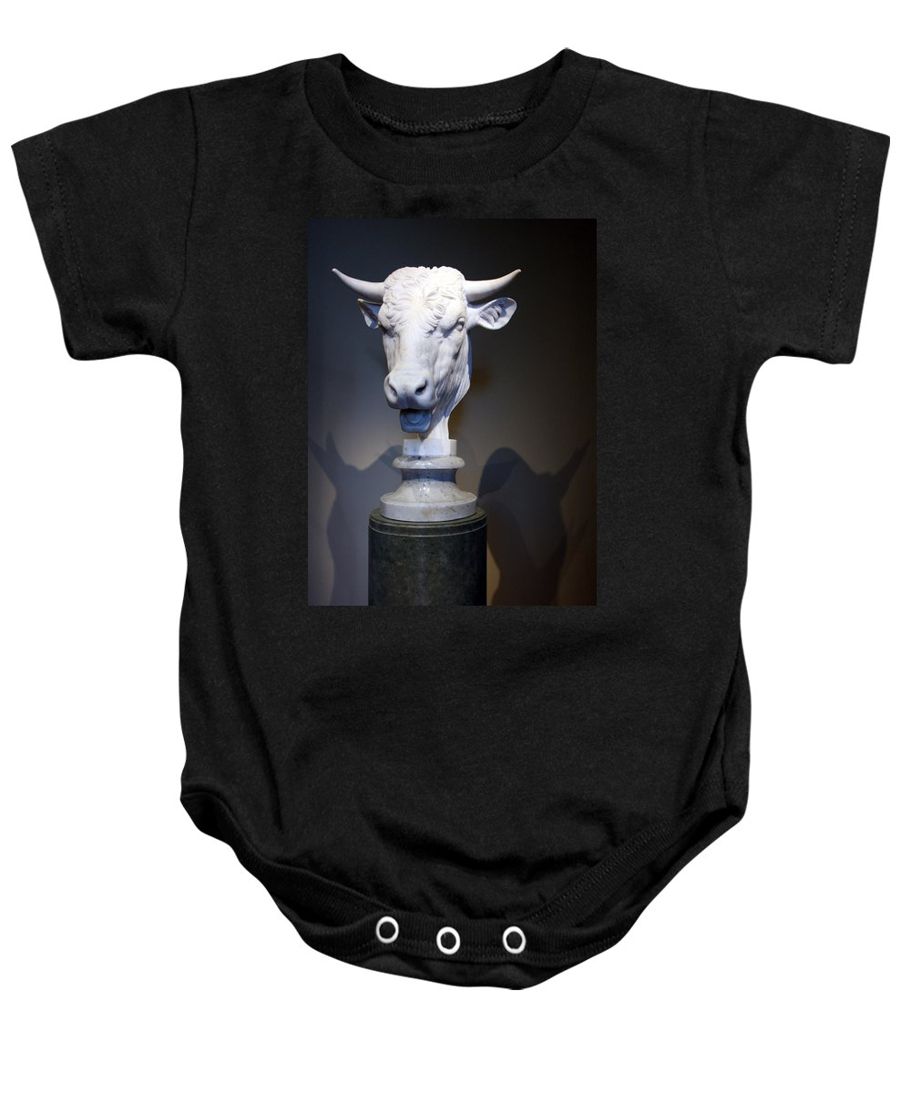 Head Baby Onesie featuring the photograph Monti's Head Of A Bull by Cora Wandel