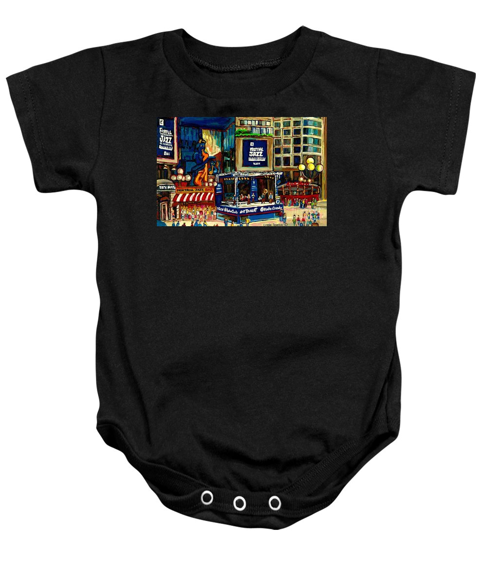 Montreal Baby Onesie featuring the painting Montreal Jazz Festival Arcade by Carole Spandau