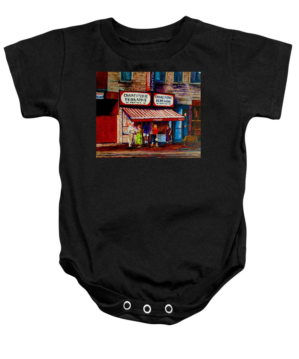 Streets Of Montreal Baby Onesie featuring the painting Montreal Paintings Available For Fundraisers By Streetscene Artist Carole Spandau by Carole Spandau