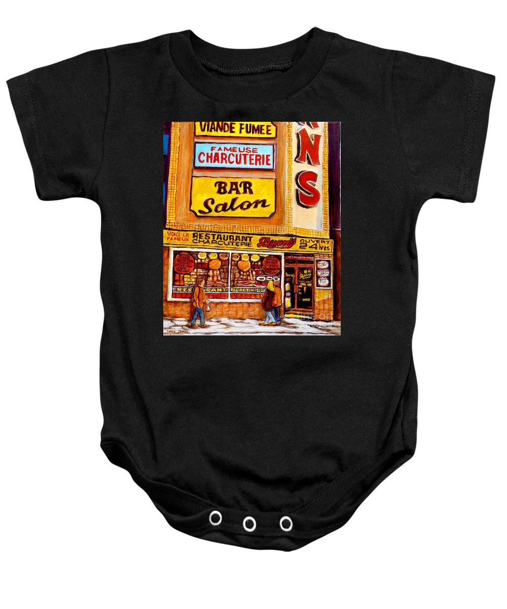 Dunns Baby Onesie featuring the painting Montreal Smoked Meat Dunns Restaurant by Carole Spandau