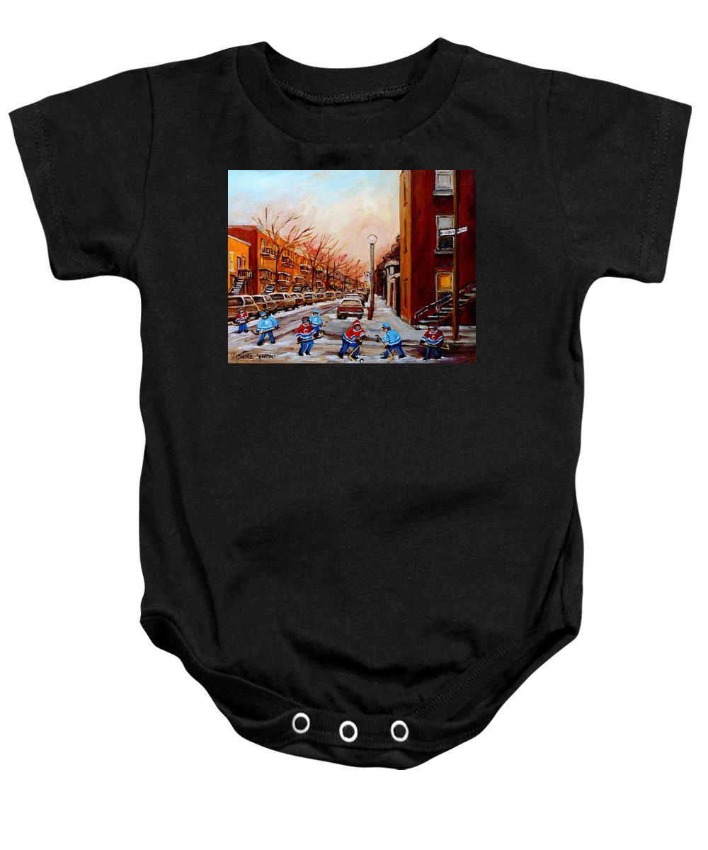 Montreal Streetscene Baby Onesie featuring the painting Montreal Street Hockey Game by Carole Spandau