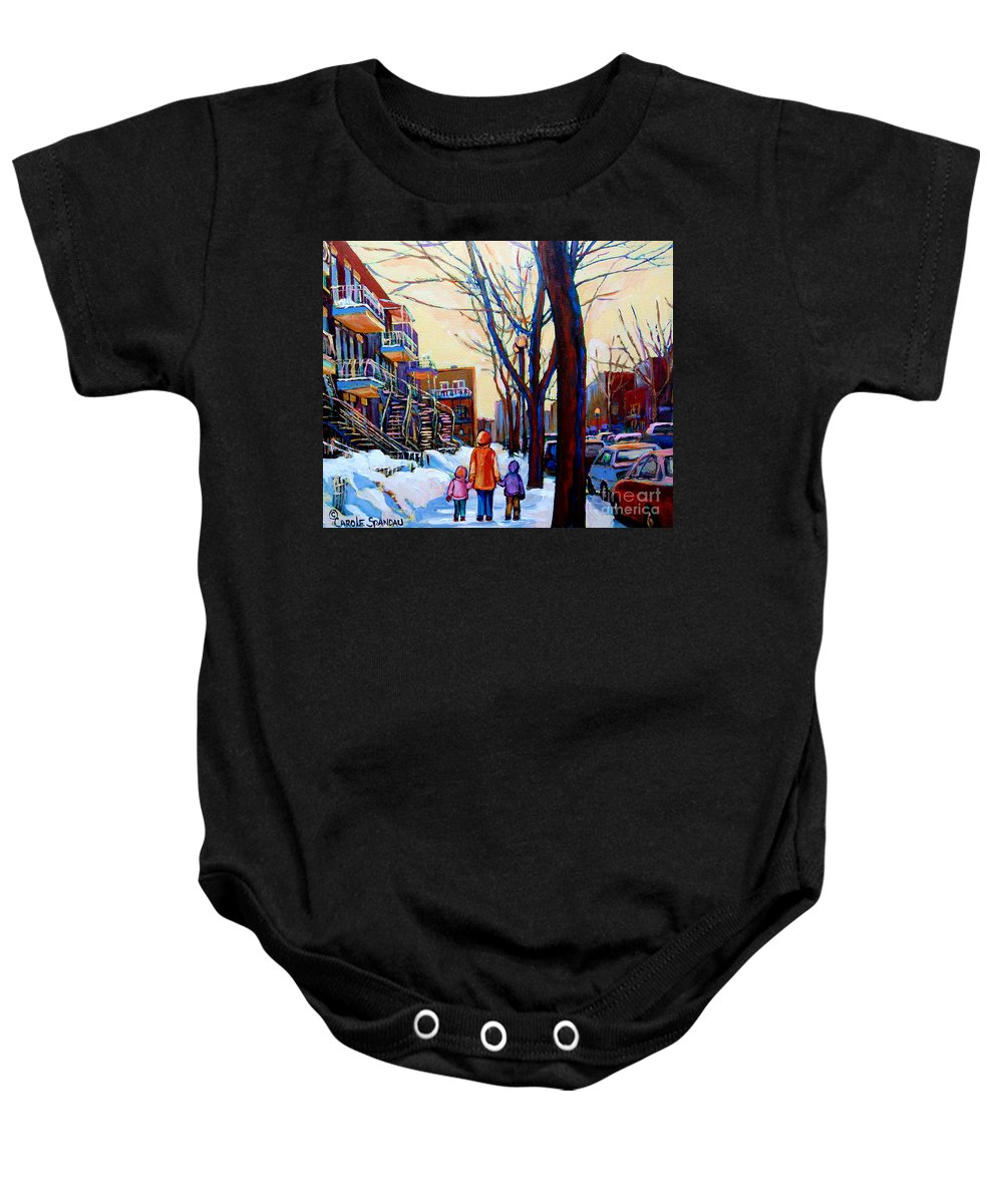 Montreal Baby Onesie featuring the painting Montreal Winter by Carole Spandau