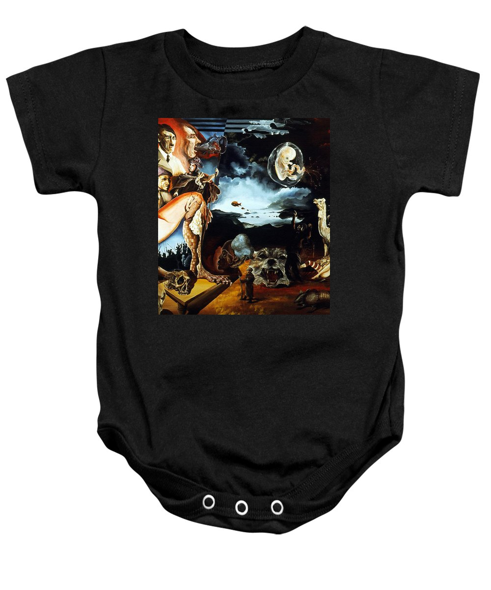 War Baby Onesie featuring the painting Monument To The Unborn War Hero by Otto Rapp