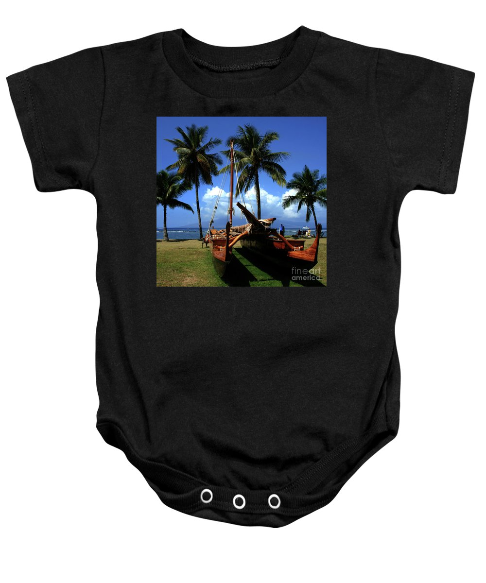 Aloha Baby Onesie featuring the photograph Moolele Canoe At Hui O Waa Kaulua Lahaina by Sharon Mau