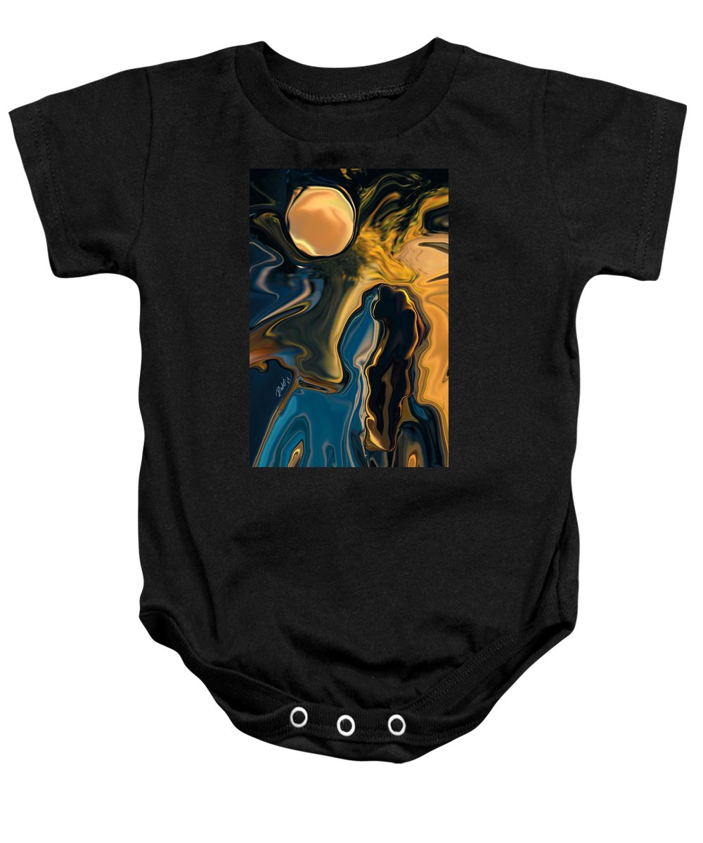 Moon Baby Onesie featuring the digital art Moon And Fiance by Rabi Khan