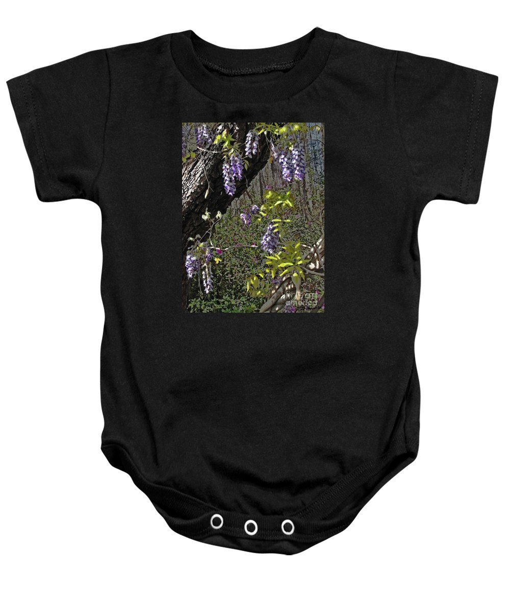 Wisteria Baby Onesie featuring the photograph Moon Glow Wisteria by Patricia L Davidson