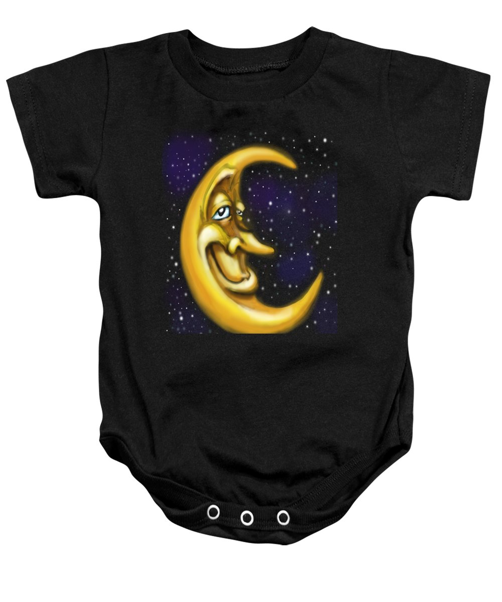Moon Baby Onesie featuring the painting Moon by Kevin Middleton