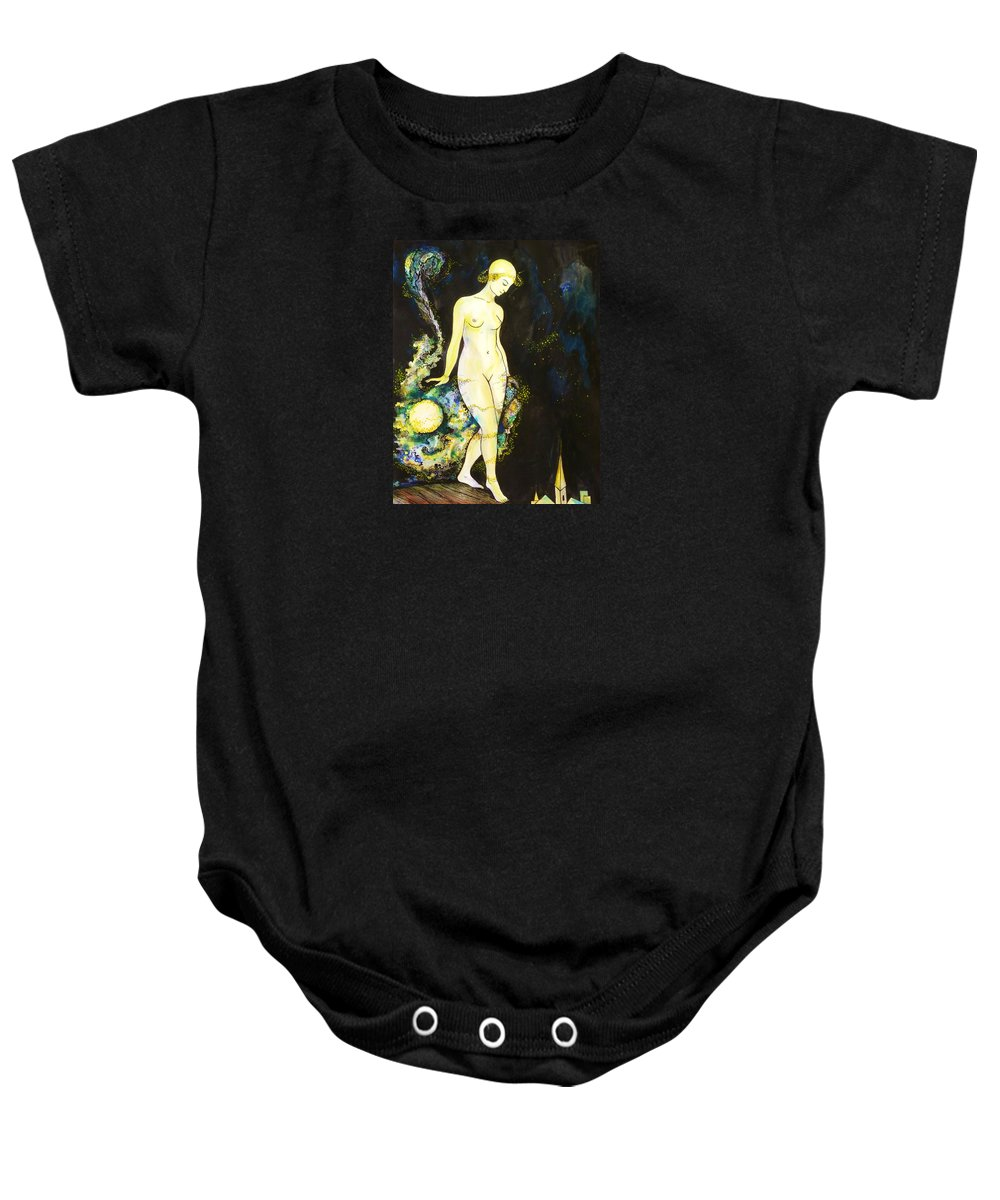 Night Baby Onesie featuring the drawing Moon Light by Anna Duyunova