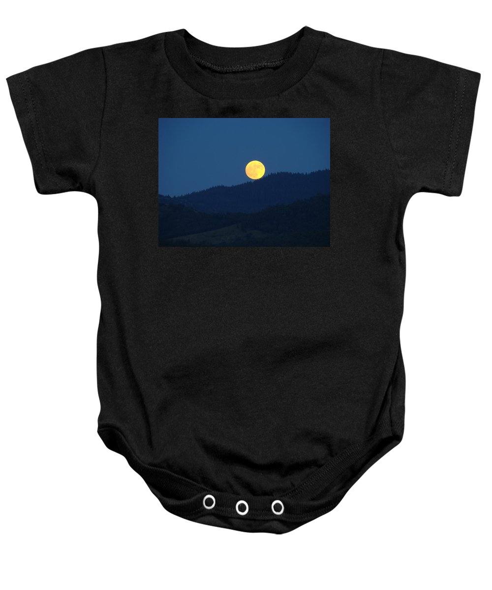 Moon Baby Onesie featuring the photograph Moon Orange Full Moon Blue Twilight Mountains Giclee Art Prints by Baslee Troutman