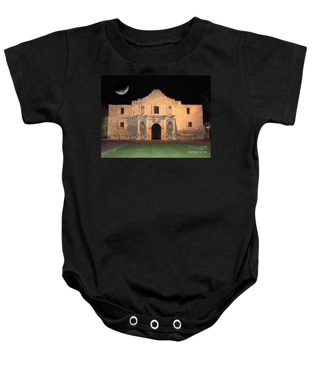 The Alamo Baby Onesie featuring the photograph Moon Over The Alamo by Carol Groenen