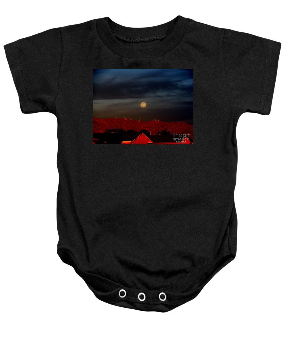 Patzer Baby Onesie featuring the photograph Moon Over Yuma by Greg Patzer