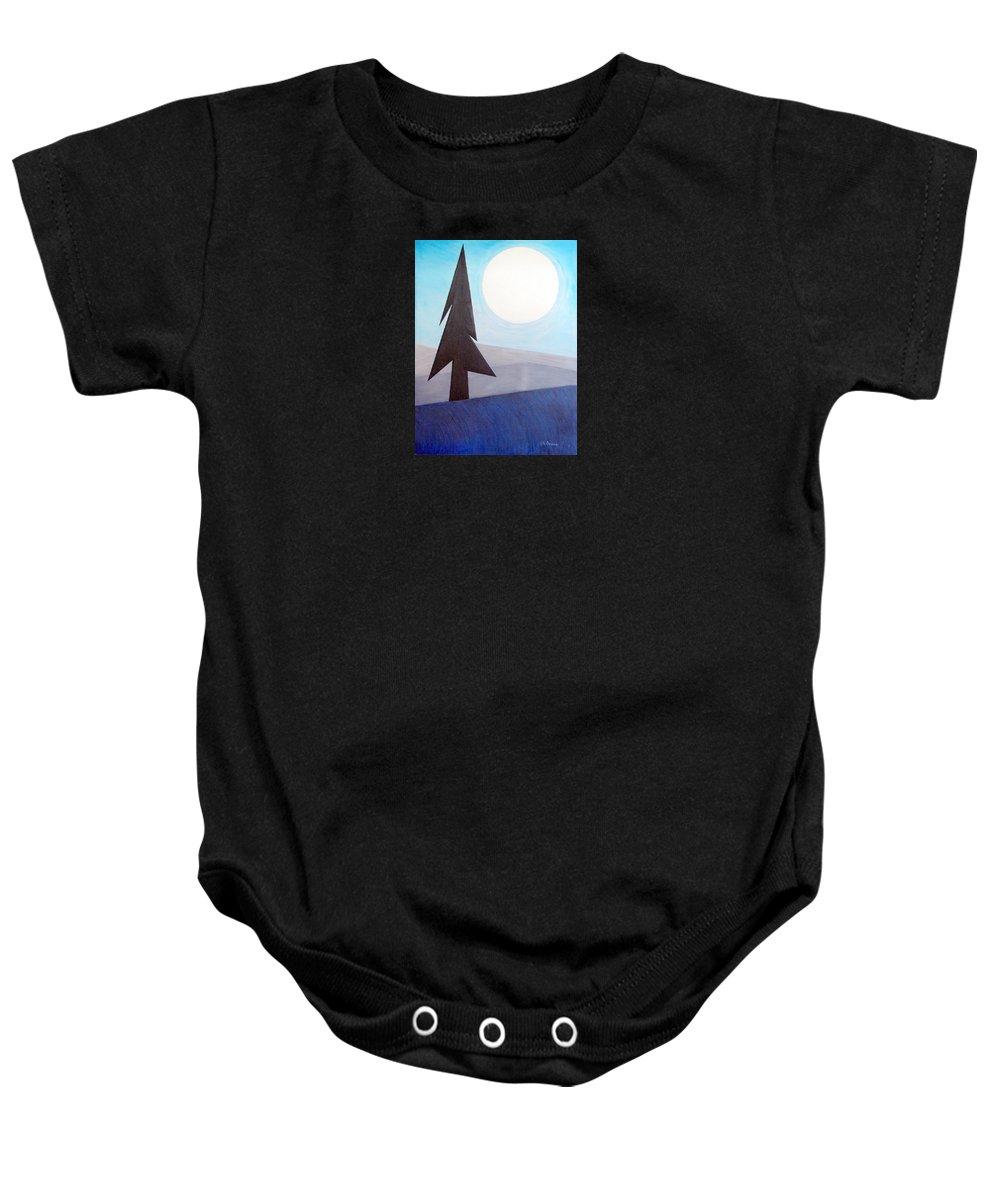 Impressionist Painting Baby Onesie featuring the painting Moon Rings by J R Seymour