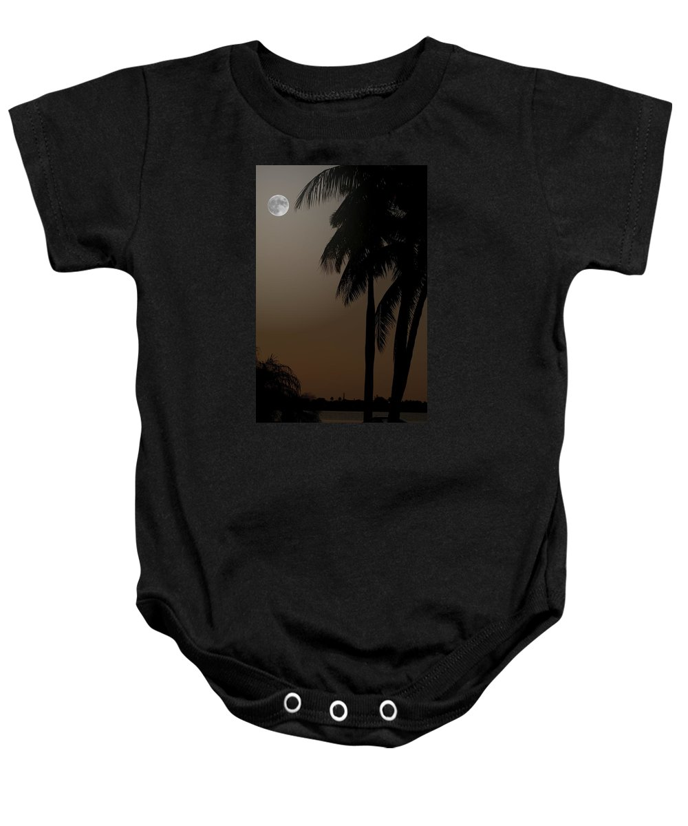 Moonlight Baby Onesie featuring the photograph Moonlight And Palms by Diane Merkle