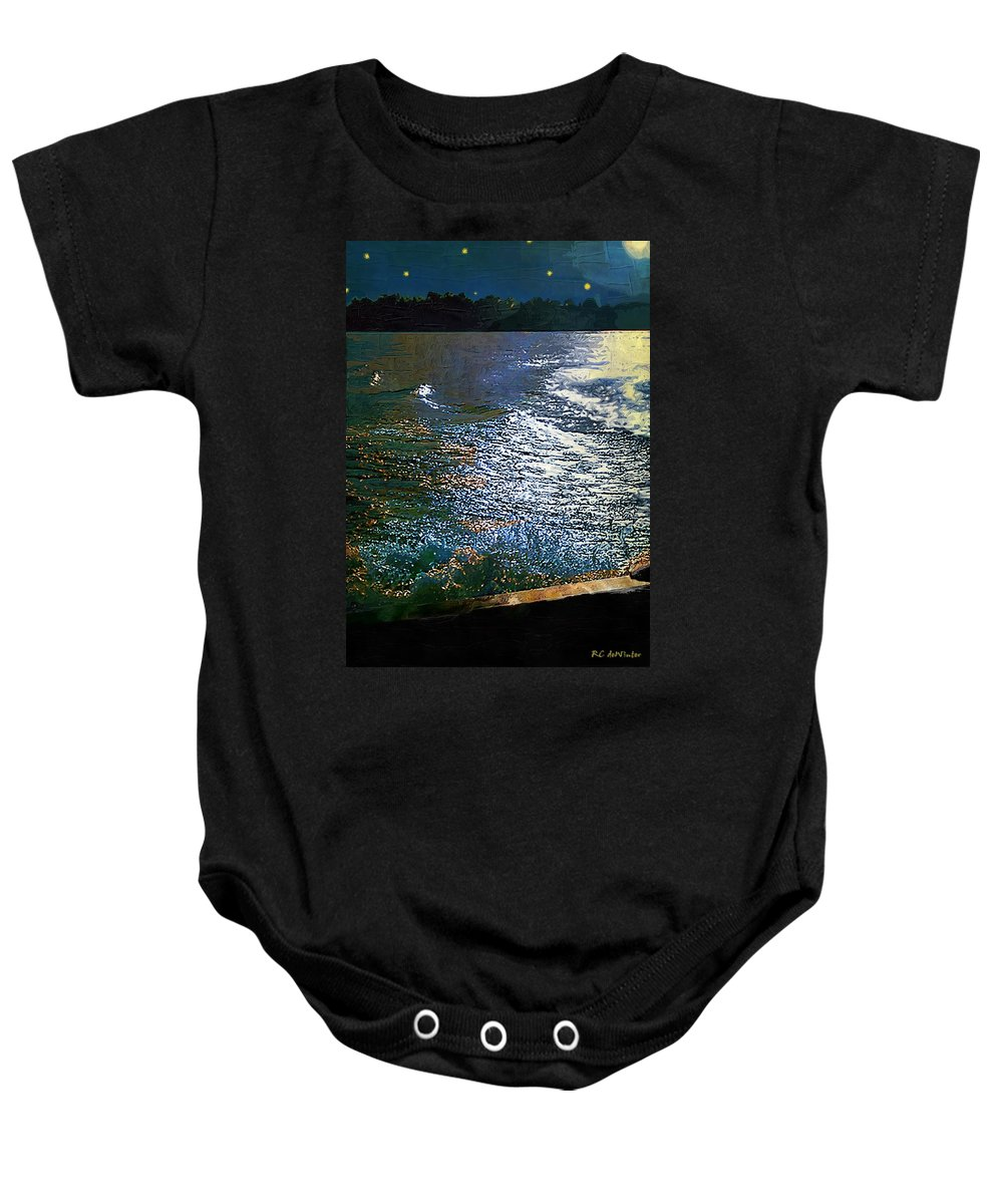 Impasto Baby Onesie featuring the painting Moonlight On The Mississippi by RC DeWinter