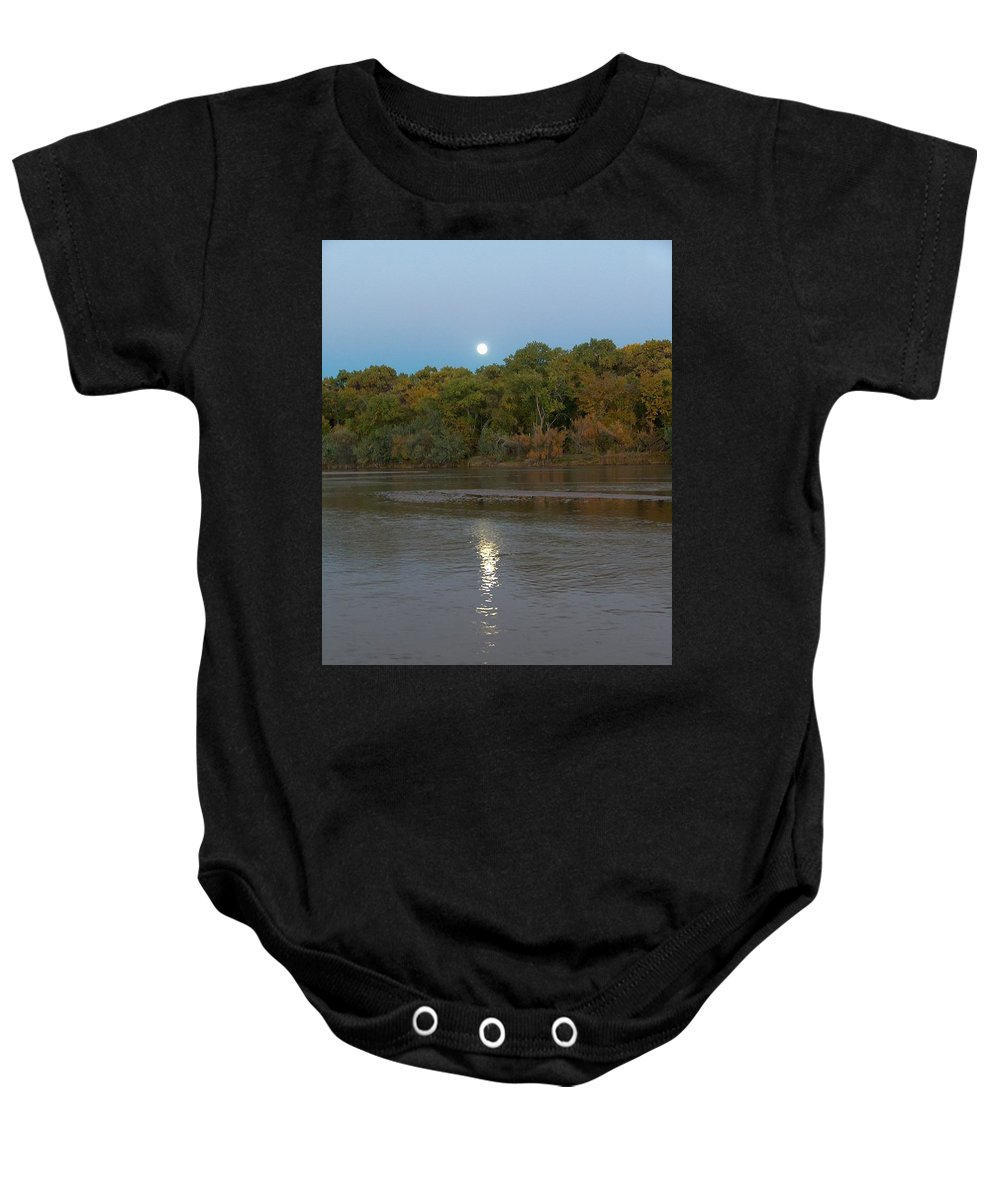 Moonlight Baby Onesie featuring the photograph Moonlight On The Rio Grande by Tim McCarthy